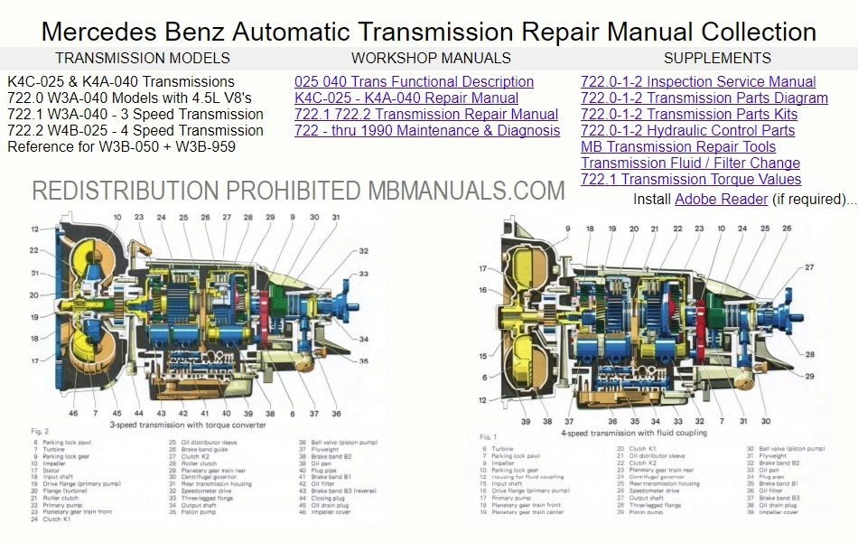 mercedes benz w114 w115 transmission manuals John Deere 950 Hydraulics Diagram mercedes benz 722 1 722 2 transmission service manuals collection click picture to enlarge \u003e